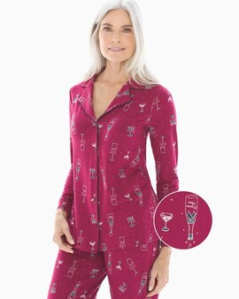 04f27312f2360 Embraceable Long Sleeve Notch Collar Pajama Top Prosecco Please Cranberry