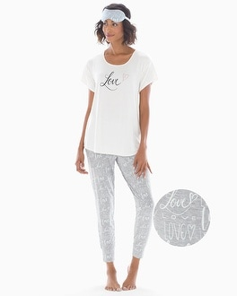 Short Sleeve Banded Ankle Pajama Set With Eye Mask Love With Ivory Graphic by Cool Nights