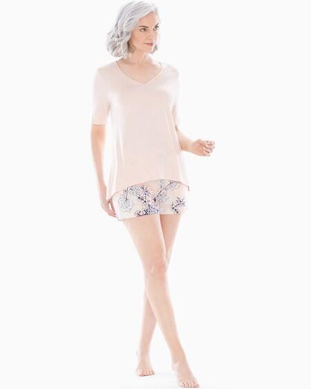 Cool Nights Grosgrain Trim Pajama Shorts Luminous Floral Peach Blossom fb0650d71