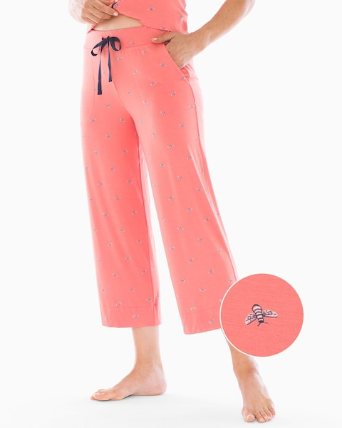 e93fe7b6e61a Cool Nights Grosgrain Trim Crop Pajama Pants Bees Please Coral Rose - Soma
