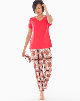 ac4c83a8ed21 Cool Nights V-Neck Short Sleeve Ankle Length Pajama Set with Eyemask  Medallion Boho W