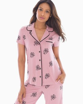 78482421d30 Cool Nights Short Sleeve Grosgrain Trim Notch Collar Pajama Top Peaceful  Floral Pink