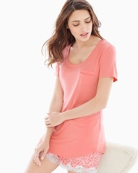 Embraceable Cool Nights Short Sleeve Pajama Tee with Pocket Coral Hype