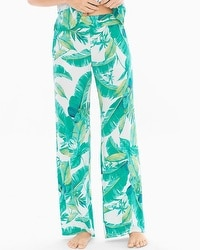 Cool Nights Pajama Pants Lush Leaves Deep Lake