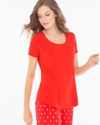 Cool Nights Short Sleeve Pajama Tee with Pocket Poppy