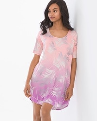 Cool Nights Loose Fit Short Sleeve Sleepshirt Hola Palm Ombre Border Pink