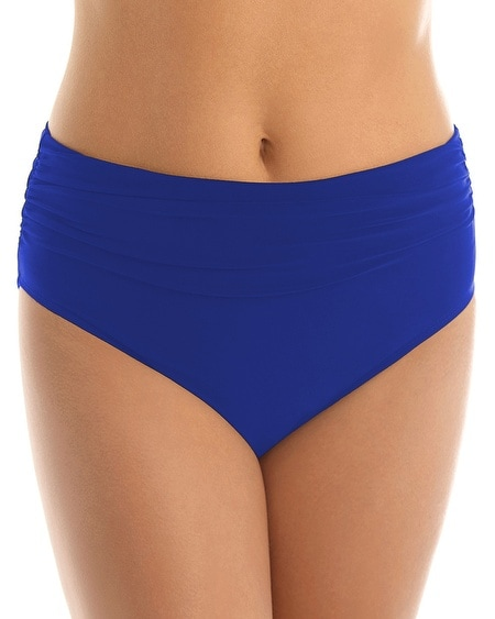Shirred High Waist Swim Bottom