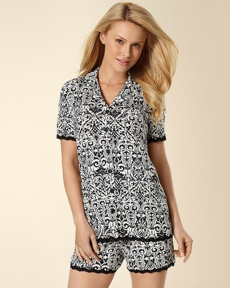 Short Sleeve Debut Lace Trim PJ Top