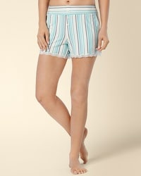 Embraceable Cool Nights Tactic Stripe Teal PJ Short