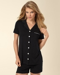 Embraceable Little Dot Black/Ivory Short Sleeve PJ Top