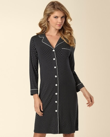 Boyfriend Sleepshirt Mod Dot Black/Ivory