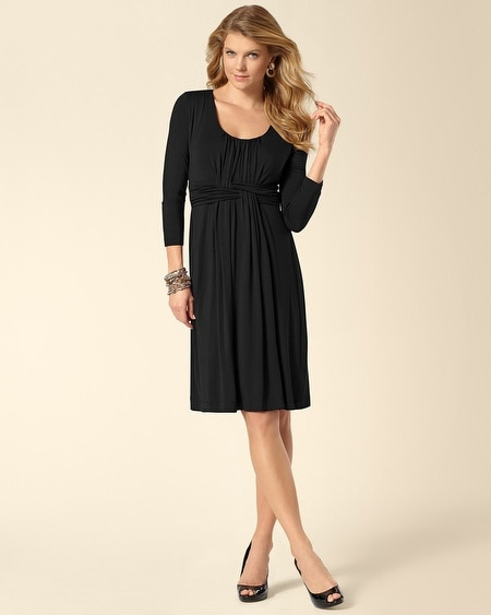 3/4 Sleeve Wrapped Waist Dress Black