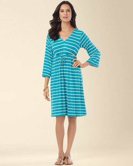 Drawstring Dress Fundemental Stripe Turq