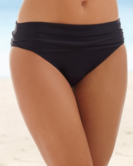 Shirred Hipster Swim Bottom Black