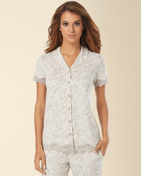 Notch Collar Lace Short Sleeve Pajama Top Charisma Sandal