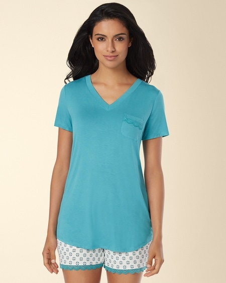 Short Sleeve V-Neck Pajama Tee Paradise Teal