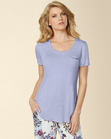 Short Sleeve Pajama Tee with Pocket Blue Violet