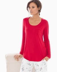 Embraceable Cool Nights Long Sleeve Satin Pocket Pajama Tee Ruby