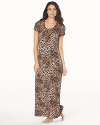 Embraceable Cool Nights Short Sleeve Long Sleepshirt Lovely Leopard Mini Black