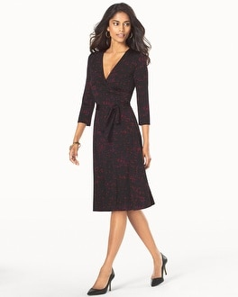 Leota 3/4 Sleeve Wrap Dress Ebonized Maroon