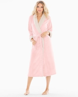 Natori Sherpa Plush Long Robe Cashmere Blush