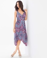Sleeveless Scarf Hem Dress Frieze Frame Navy