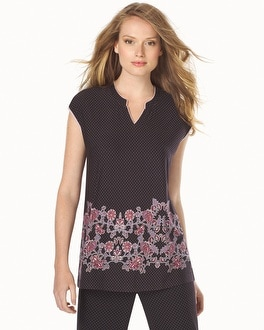 Embraceable Cool Nights Short Sleeve Popover Pajama Top Blooming Scroll Java Border