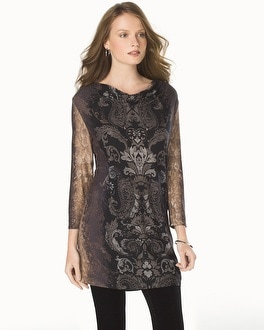Live. Lounge. Wear. Soft Jersey Draped Neck Tunic Graceful Scroll Black