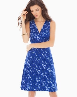 Leota Sleeveless Isabella Short Dress Cobalt Confetti Dot