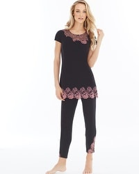 Oh My Gorgeous Tunic Pajama Set Black/Blush Pink