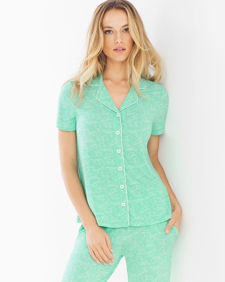 Cool Nights Notch Collar Short Sleeve Pajama Top Stay in Bed Pool Green