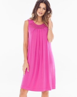 Neckline Detail Short Swing Dress Rose Violet