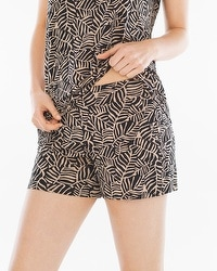 Embraceable Cool Nights Pajama Shorts Zebra Palm Soft Tan