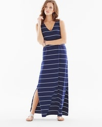 Premium Cotton Tank Maxi Dress Airy Stripe Navy