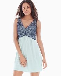 Coastal Floral Lace Sleep Chemise Misty Jade/Navy
