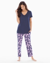 Cool Nights Ankle Pants Pajama Set Bali Butterfly Violetful
