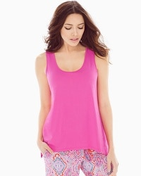 Cool Nights Scarf Hem Pajama Tank Rose Violet