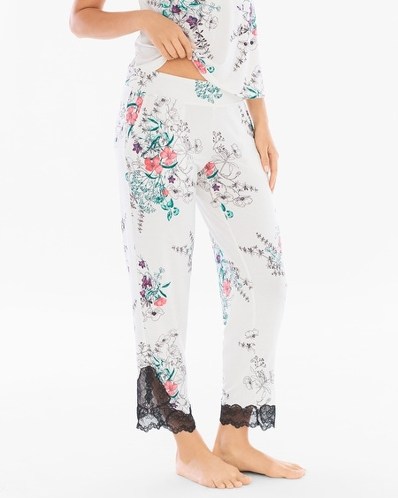 Lace Trim Ankle Pajama Pants Meadow Ivory