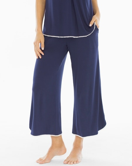Crochet Crop Pajama Pants Navy/Ivory