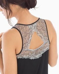 Cool Nights Metallic Lace Nightgown Black/Ivory