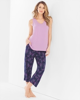 Cool Nights Crop Pants Pajama Set Bali Butterfly Navy