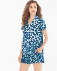 Embraceable Cool Nights Pajama Shorts Set Lovely Leopard Peacock