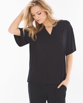 Cool Nights Pop Over Pajama Top Black