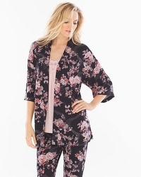 Cool Nights Pajama Cardi Wrap Blooms Black