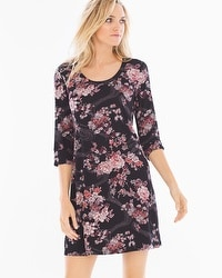 Cool Nights 3/4 Sleeve Sleepshirt Blooms Black