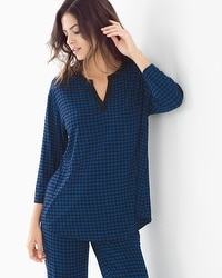 Cool Nights 3/4 Sleeve Pop Over Top Houndstooth Majesty