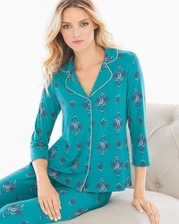 Cool Nights Notch Collar 3/4 Sleeve Pajama Top Peaceful Pagoda