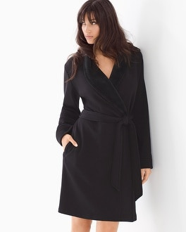 French Terry Short Robe Black