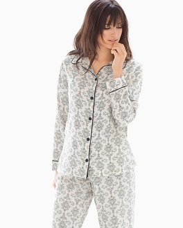 Cozy Woven Cotton Blend Long Sleeve Pajama Top Chic Scroll Ivory