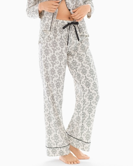 Cotton Blend Pajama Pants Chic Scroll Ivory